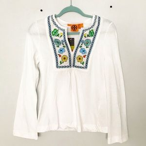 🤩NWT TORY BURCH BLOUSE WHITE W FLORAL EMBROIDERY